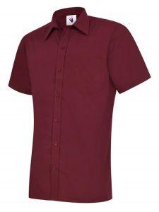 Mens Poplin short Sleeve Shirt Bordeaux